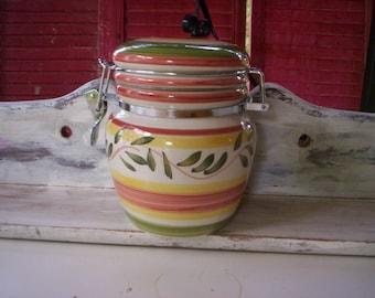 Ceramic candy jar/fall kitchen decoration/Gibson ceramic jar/Ceramic jar with lid/Motheru0027s day gift/Cookie jar/Kitchen storage/Containers & Ceramic storage jars | Etsy