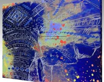 Canvas Art Abstract Elephant, Blue Abstract Art, Elephant Art, Abstract Art, Canvas Art, Home Decor, Wall Art, Gift