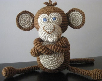 Crochet Baby Monkey, vegan plush toy doll amigurumi brown tan stuffed animal gift boy or girl MADE TO ORDER many colors available, pink