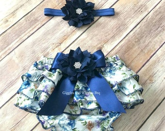 Baby girl clothes, navy blue floral bloomers, baby diaper cover, newborn girl bloomer, infant headband, baby girl easter outfit