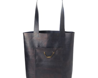 Dark blue leather shopping tote bag, with two pockets, Gift for women, Womens tote bag, MALAM