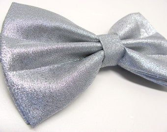 Mens Bowties. Lamé Silver Metallic Bowtie With Matching Pocket Square Option