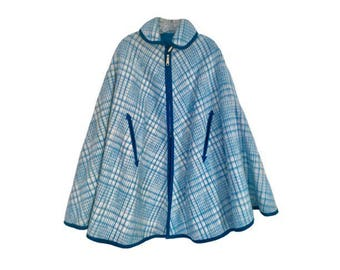 Vintage 60's Mod - Reversible Turquoise Blue & White Plaid Wool Zipper Front Poncho/ Cape