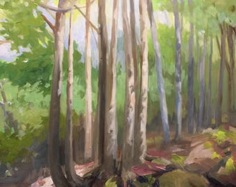 Plein Air painting Acadia National Park. Ancient Rocks by Alexia Scott