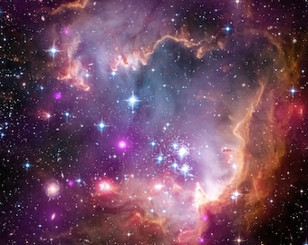 Taken Under the Wing of the Small Magellanic Cloud NASA, ESA and the Hubble Heritage Team Gallery Wrapped Canvas Wall Art Print (D50)