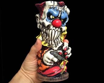 Clown Tiki Mug, Colorful Hand painted Porcelain Mug