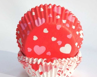 Valentine Cupcake Liners (72), Sweetheart Fairy Cake Cases, Mini Cupcake Liners, Valentine Party Cups, Pink - Red - White Hearts,