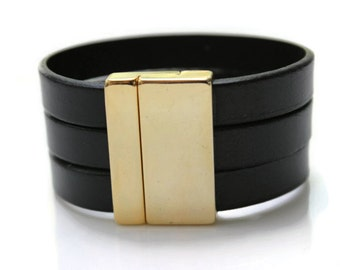 Womens Leather Cuff Bracelet, 40th Birthday Girlfriend, Wide Band Cuff, Big Black and Gold Ladies Bracelet, Gold Cuff Bracelet, Elegant Cuff