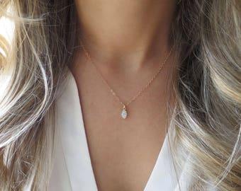 Gold pendant necklace etsy tiny opal pendant gold opal necklace dainty opal necklace delicate opal gold pendant necklace minimal necklace bridesmaid necklace aloadofball Images