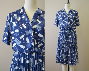 1970s-does-1940s Navy and White Abstract Print Dress