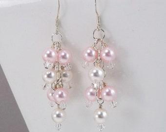 Soft Pink Earrings • Cream Pearl Cluster Earrings • Swarovski Earrings • Sterling Silver Filled • Dangle Earrings •
