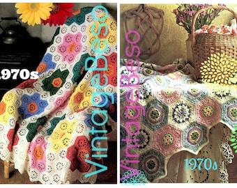 INSTANT DOWNlOAD • PdF Pattern • 2 EASY Afghan Crochet PatternS • Flower Garden Afghan • Retro • Pastel Octagon Hexagon • Boho • Vintage