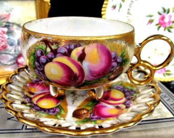 Royal Sealey Tea Cup and Saucer Fruits 3 Ring Footed Teacup Set Open Edges