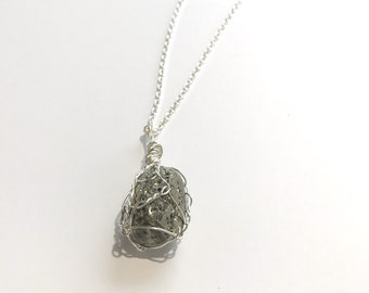 Wire Wrapped Pyrite Egg Pendant with Chain
