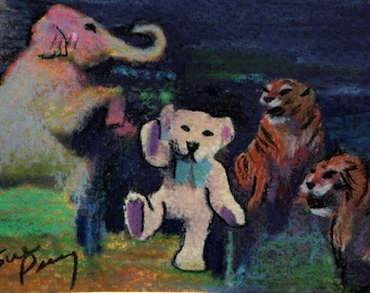 original art  drawing aceo card circus animals free with teddy bear