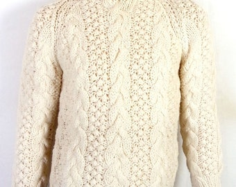vtg 60s 70s Stix Baer & Fuller Heavy Wool Cable Knit Sweater Fisherman Italy S