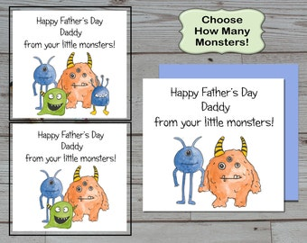 Little Monsters Fathers Day Card - Custom Fathers Day Card - Choose Your Card - Cute Fathers Day Card - Daddy Cards -Cards For Dad
