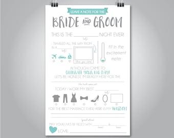 Wedding Mad Libs, Wedding Advice Card, Fill in the Blank, Custom Colors