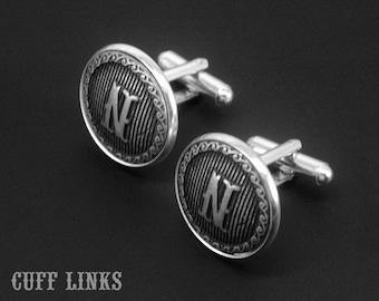 Mens Cufflinks -Initial Cuff Links -Letter Cufflinks -Monogram Cufflinks -Wedding Jewelry -Your Choice of A - Z