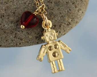 Gold Robot Love Necklace - tiny matte gold plated robot & red glass heart charms on 14k gold-fill chain- Free Shipping USA - Mini Sci Fi Fun