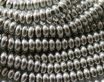 Silver 4 mm Rondelle Beads (100)