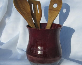 Utensil Holder or Vase in Red and Gray - Visit shop for more Handmade Pottery