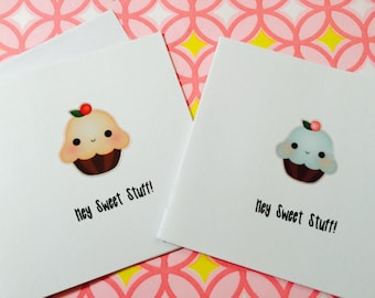 Mini Cards, Cupcake Cards Hey Sweet Stuff Set of 2 mini note cards come with envelope and seal to tuck away lunch boxes
