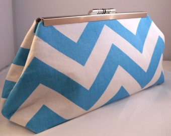 Turquoise and White Chevron Clutch