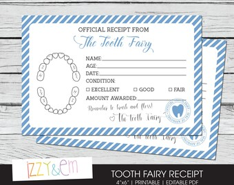 Tooth Fairy Note - Boys Tooth Fairy Receipt - Printable Tooth Fairy Report - Lost Tooth Records - Tooth Fairy Certificate - Instant Download