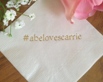 Personalized Napkins Personalized Napkins Wedding Napkins Hashtag Hash Tag Personalized Beverage Luncheon Dinner Guest Towels Avail!