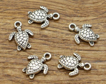 50pcs Turtle Charms Tortoise Charms Animal Charms Antique Silver Tone 17x12mm cf2310