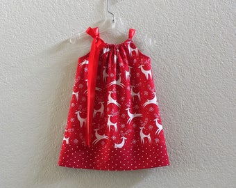 New! Girls Red Christmas Dress -  White Reindeer on Red - Toddler Girls Holiday Dress - Christmas Print Dress - Size 12m Through Size 10