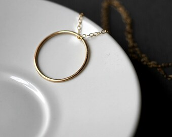 Circle Necklace - Gold Fill | simple pendant | gold pendant | gold circle necklace | mother's day  | birthday gift | anniversary
