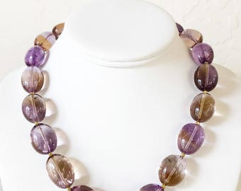 Ametrine Tumbled Nugget Beaded Necklace with Gold Vermeil Box Clasp