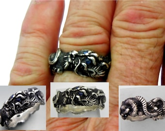 Sterling Silver DRAGON ring with Ceylon Blue Sapphire eyes. Hand carved and available in 14K, 18K, 22K, 24K and Platinum Ring #1 of 50
