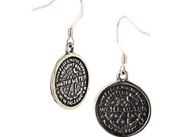New Orleans, Water Meter, DANGLE, hanging, earrings, Sterling Silver, Louisiana, Must Have, 925, Made In New Orleans
