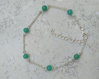 Bracelet, anklet, aventurine, silver chain, Crystal healing