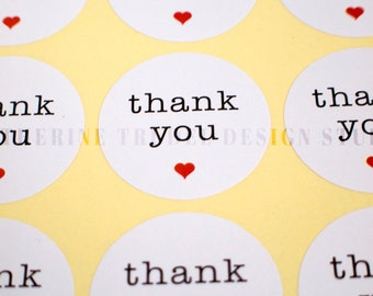 Thank You Stickers- Round, White, with Red Heart