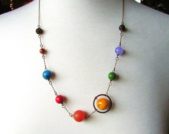 Planet Necklace, Planets Necklace, Galaxy Necklace, Galaxy Jewelry, Nebula Necklace, Solar System Necklace, Solar System Christmas Gift 2016