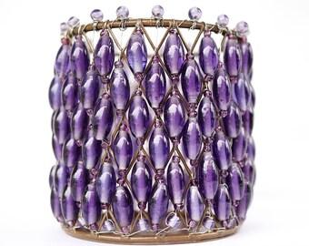 Vintage 60s Lantern Purple Glass Beaded Candle Lantern Lighting Fixture Tea Candle Holder Beaded Lamp Bohemian Home Decor Purple wedding