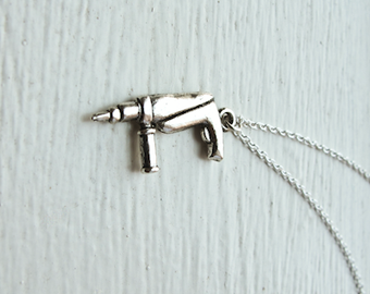 Power Drill Necklace- Holiday Gifts- Whimsical Handy Man Tool- 925 Sterling Silver or Silver Tone Chain - Tiny Electric Tools