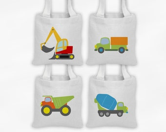 Construction Vehicles Mini Tote Party Favor Bags - Set of 4 Custom Gift Bags - Reusable Tote Bags with Dump Truck, Excavator