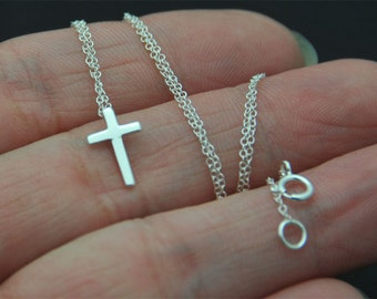 Petite Cross sterling Silver necklace. Cross Necklace. Silver Cross Necklace. Cross Jewelry. Simple Necklace.