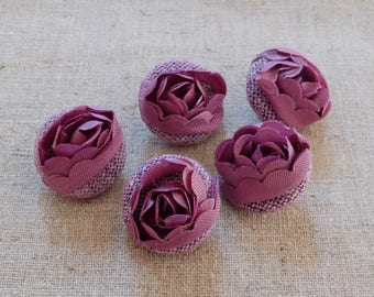 Chic Embroidery Victorian Wedding Elegant Purple Satin 3D Lace Floral Flower Buttons-Handmade Fabric Covered Buttons(5Pcs, 0.75 Inches)