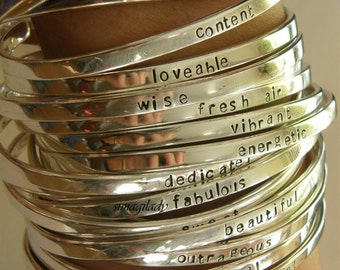 Say What You Want To Say  - Say Anything On YOUR cuff bracelet ---Custom sterling silver By - SimaG