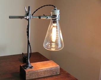 Science chemistry gift industrial desk lamp table light cool laboratory scientist chic decor Erlenmeyer flask salvaged wood vintage biology