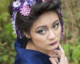Kanzashi Tsumami flower purple wedding comb
