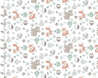Little Forest - Forest Animals White from 3 Wishes Fabric