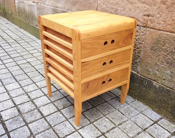 Ash Wood Small Chest of Drawers for Study/ Office/ Stationery