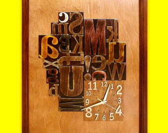 "Exclusive wooden clock ""Letterpress"" - Limited Edition"